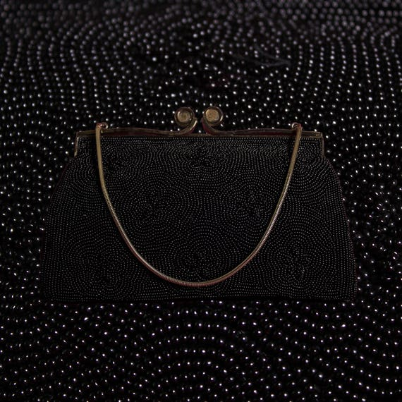Black Beaded Kisslock Evening Bag