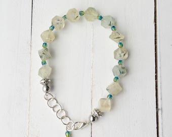 Natural Prehnite Beaded, Washington Inspired Bracelet, Handmade