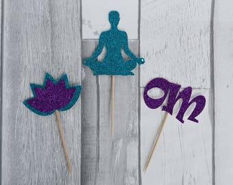 Yoga Cupcake Toppers, Yoga Pose Toppers, Yoga Party, Yoga Teacher, Yoga Class, Namaste, Yoga Party Supplies, Yoga Decorations, Yoga Birthday