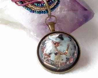 On Sale  50% reduction Energy Healing Orgone  Pendant - Blue Lace Agate, Shungite and Clear Quartz   EMF Protection