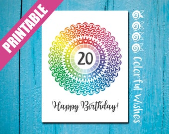 20th Birthday Card Printable A2, Rainbow Happy Birthday 20, Age 20 Card, Colorful Birthday Card, 20th Birthday Greeting, Happy 20 Birthday