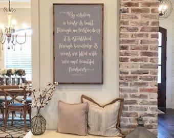 By wisdom a house is built, Farmhouse sign, Bedroom decor, Farmhouse style, Rustic Decor, Home Decor, Family Sign, Christmas Gifts