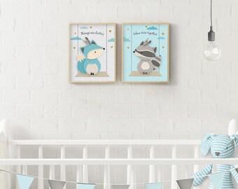 Woodland Nursery, Boy nursery, Twin nursery, Print Set, Nursery print, Forest Friends, Fox, Raccoon, Nursery wall art, Nursery decor, Giclee