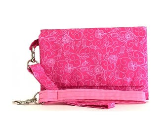 Closeout - Pink Flower Cell Phone Wallet and Wristlet