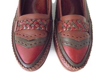 Vintage K Skips,Clarks  Women's Kilt Loafers Shoes 6 UK /Green,brown,burgundy/Vintage flat shoes/Vintage New Shoes/Unused