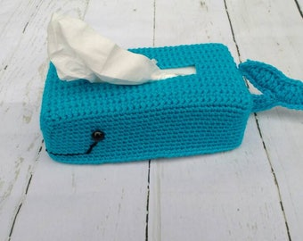 Crochet whale tissue box cover including tissues