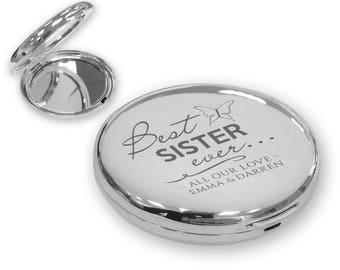 Personalised engraved Best Ever SISTER compact mirror gift idea, SILVER plated - BEV6