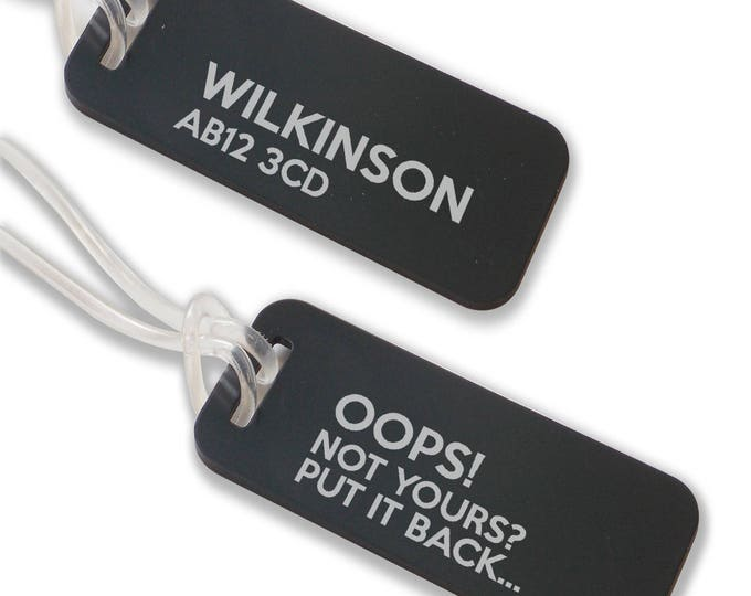 Personalised engraved suitcase holiday BAG luggage TAG, coloured aluminium custom luggage tag - ANB5-F1