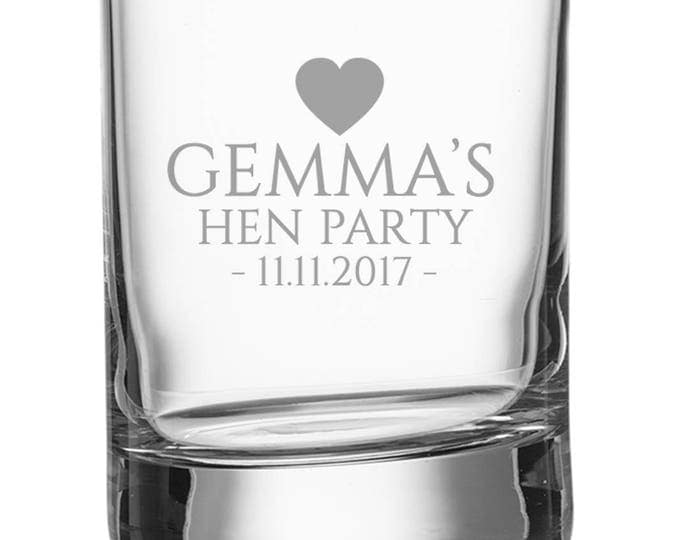 Engraved HEN PARTY shot glass, personalised shot glasses with bachelorette's name and hen party date, heart - SH-HEN2