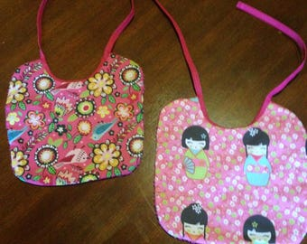 Set of 2 bibs cotton and sponge