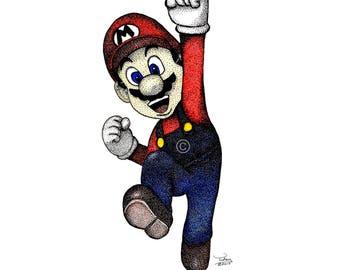 Mario and Luigi Prints (hand drawn in pen)