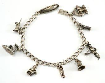 Charm Bracelet, Sterling Silver, Vintage Bracelet