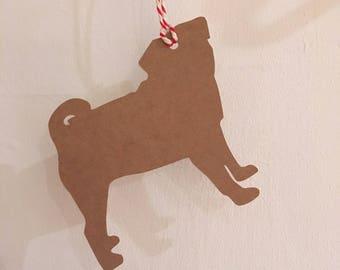 Pug dog Gift Tag/Christmas - PACK OF FIVE