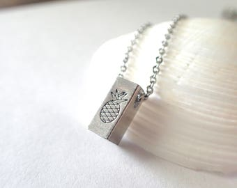 Pineapple 3D Bar Necklace