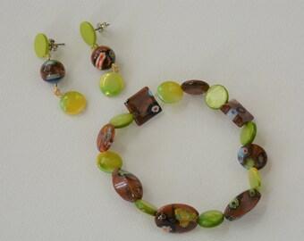 Beaded Earring and Bracelet Set