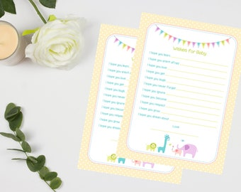 Wishes for Baby Cards - Neutral/Unisex - 20 Guests - High Quality Card - A5 size