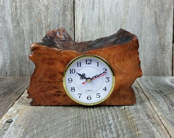 Redwood Burl Clock Table Shelf Mantle Desk Office Gifts for Men Sitting Wood #J