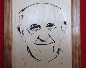 Pope Wooden Portrait