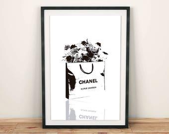 Chanel Print, Chanel Poster, Fashion Wall Art, Minimalist Decor, Black and White, Flowers Print, Fashion Addict, Printable Art, Fashionista