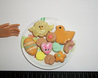 Dollhouse Miniature Handcrafted Easter Cookies ~ Dessert Doll Food ~ reference Barbie hand for size 931