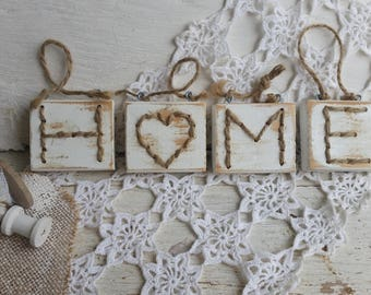 Small wood signs - home - shabby - white