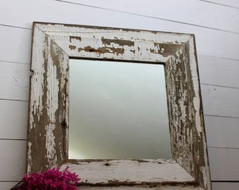 Salvaged Barnwood Farmhouse Mirror