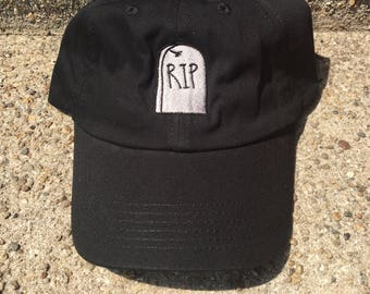Gothic Grave Baseball Hat | RIP Tombstone | 90s Fashion | Health Goth | Dad Hat | Embroidered Hat