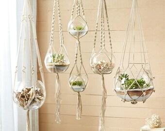 Macrame Plant Hanger/ Set of 5 Hand Braided Macrame Plant Hanger