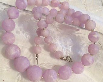 Light Lavender and White Swirled Graduated Plastic Beaded Necklace