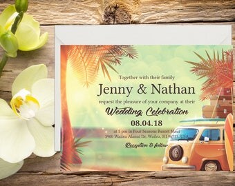 Beach Wedding Invitation Setup, Destination Wedding, Tropical Wedding, Printable Wedding, Invitation template, Wedding invitation
