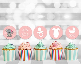 Baby Girl Shower Cupcake Toppers, baby shower cupcake, baby cupcake topper, cupcake toppers, cupcake decorations, printable toppers