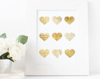 Gold Foil Hearts Digital Print - Wall Art - Nursery- Office -Beautiful- Patterns - Glitter Download 8x10