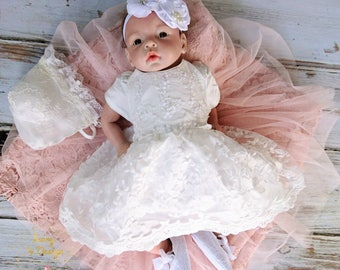 White Lace Baby Girl Baptism Dress Christening Dress 3pcs Outfit with matching Bonnet and Headband