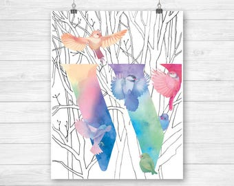 Digital downloads W initial home decor printables - colorful modern bird art - rainbow letters W for contemporary home decor - birdy letters