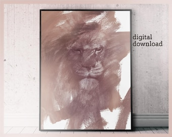 Large Lion Poster, Brush Stroke Abstraction Art, Printable Lion Art, Lion Wall Art, Lion Head Printable, Trending Wall Art