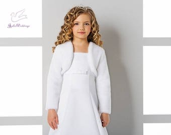 First Communion jacket for girls faux fur long sleeve