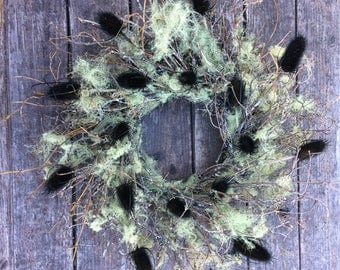 Wreath, Free Shipping, Lichen Wreath, Natural Wreath, Dried Wreath, Halloween Wreath, Forest Wreath