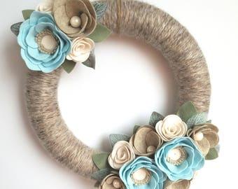 Modern Wreath - Felt Flower Wreath - Yarn Wreath - 12 Inch Wreath - Small Wreath - Spring Wreath - Baby Shower Wreath - Easter Wreath