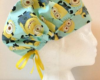 Minions, Women's Surgical Scrub Hat, Bouffant Style, Yellow & Blue