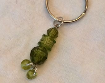 Green beaded keyring