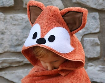 Fox Adult Hooded Bath Towel / Adult Hooded Towel / XL Adult Hooded Bath Towel / Extra Large Hooded Towel for Adults / Woodland Animals