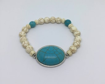 Beaded bracelet, women bracelet, gift for her, turquoise stone.