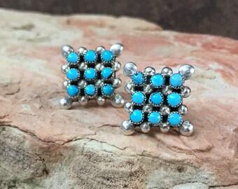 Native American Zuni--Sterling Silver-Sleeping Beauty Turquoise -Post Earrings