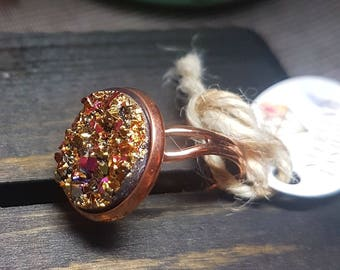 Large Multi Gold Druzy -Rose Gold Ring