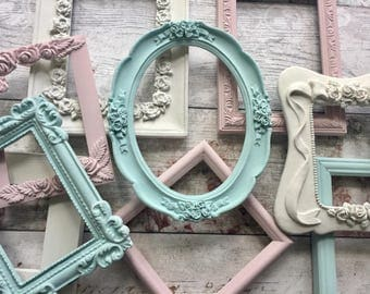 Shabby Chic Frames Painted Frame Set Ornate Photo Picture Frames Cottage Chic Wall Decor Wall Gallery Open Frame Set ** MADE TO ORDER **