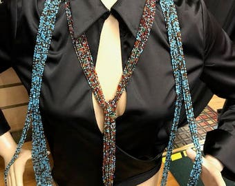 Beaded Necklaces, Satin Blouse