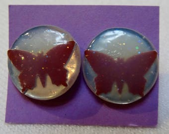 Large circle shaped paper earrings- sparkly silver with maroon butterfly