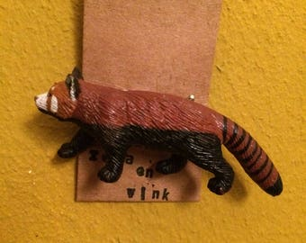 Small red panda brooch