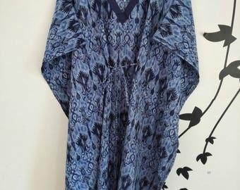 Indigo blue Cotton Kaftan, Cotton ikat print,Beach Cover Up, Indian butter Cotton