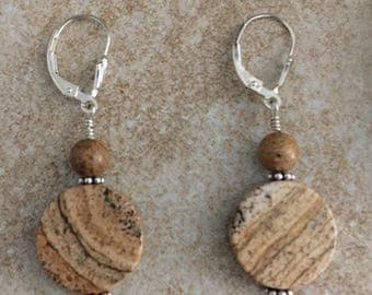 Sterling Silver 925 and Round Picture Jasper Earrings